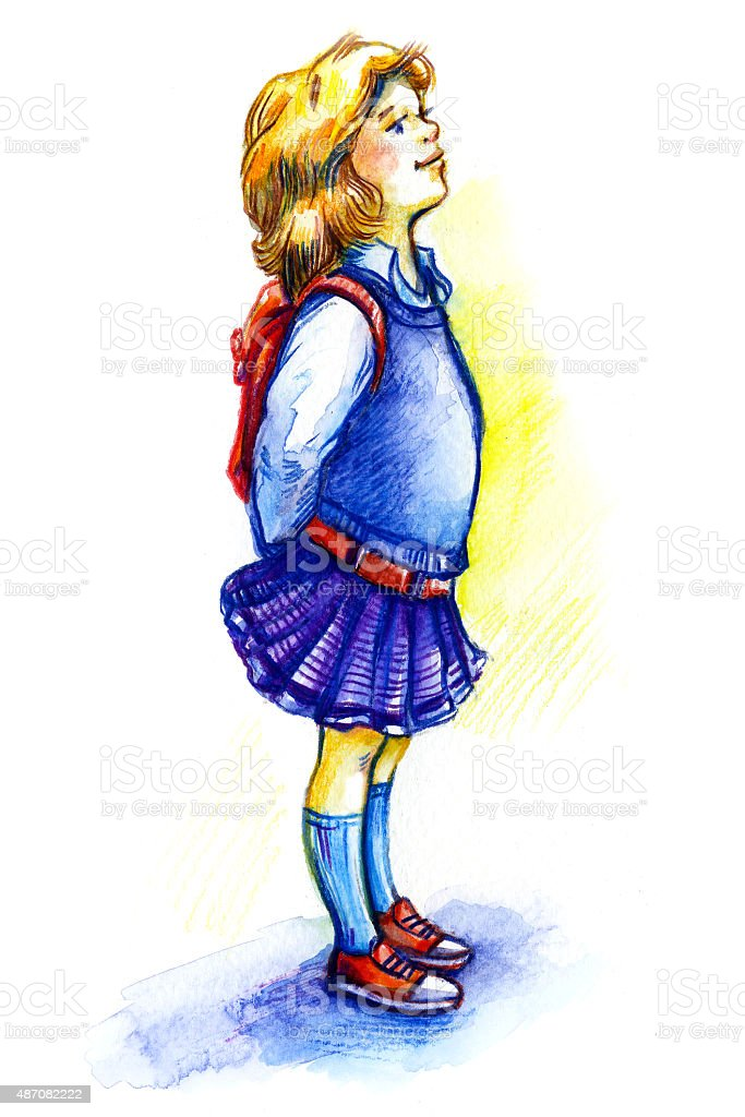 schoolgirl in profile vector art illustration