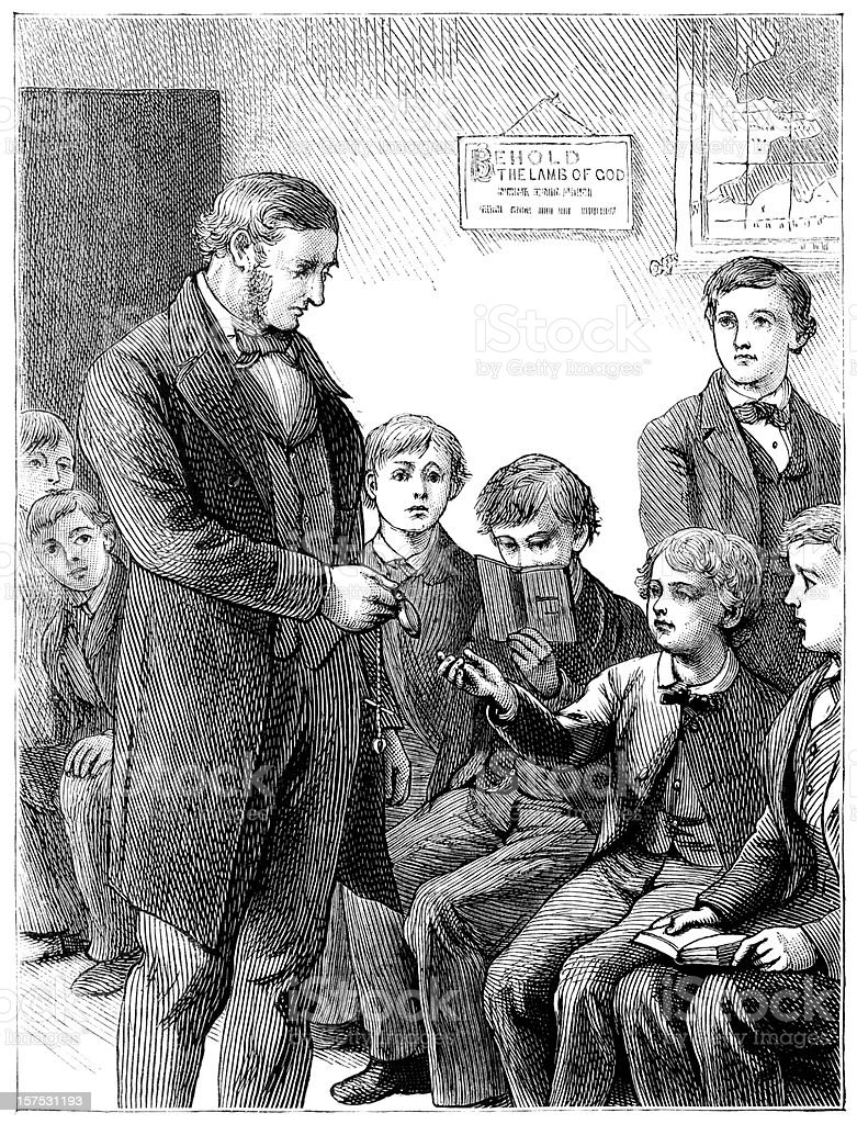 Schoolmaster and schoolboys - Victorian illustration royalty-free stock vector art