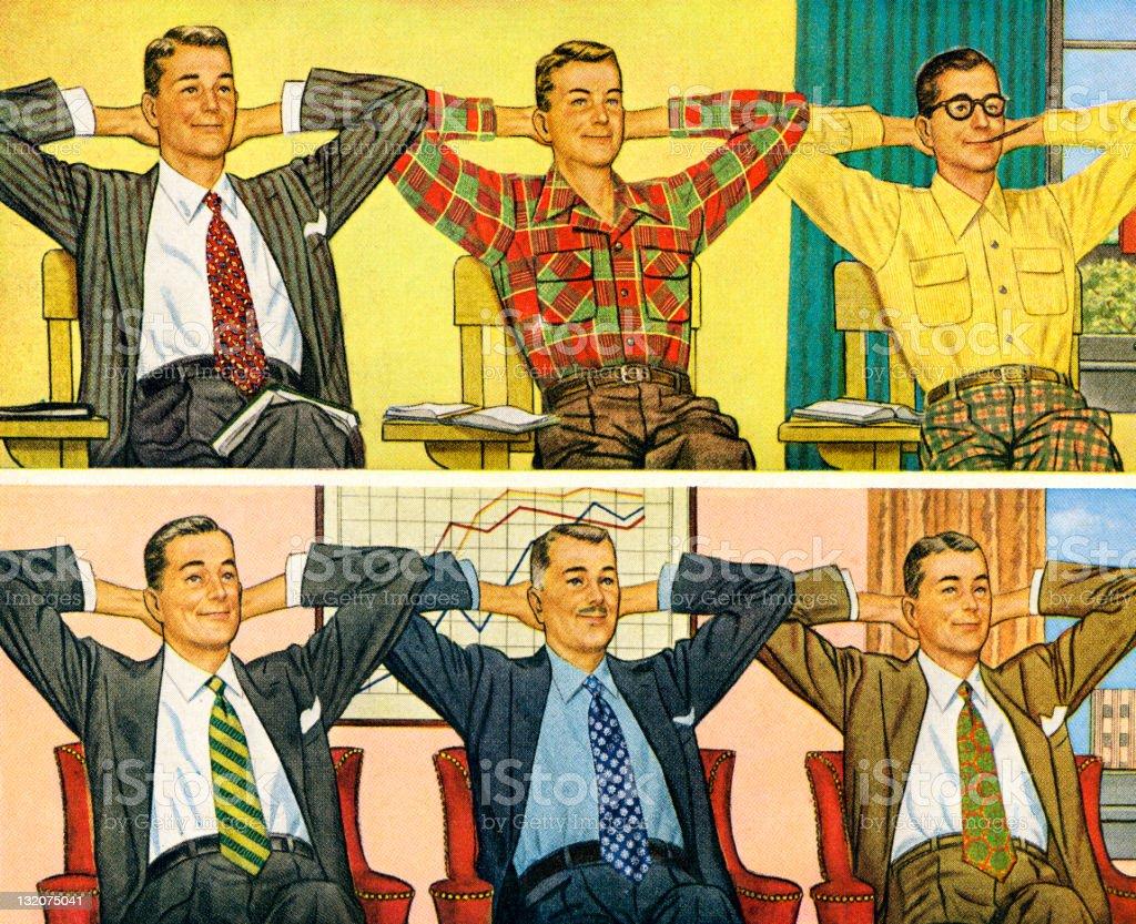 Schoolmates to Businessmen vector art illustration