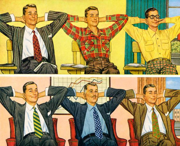 Schoolmates para ejecutivos - ilustración de arte vectorial