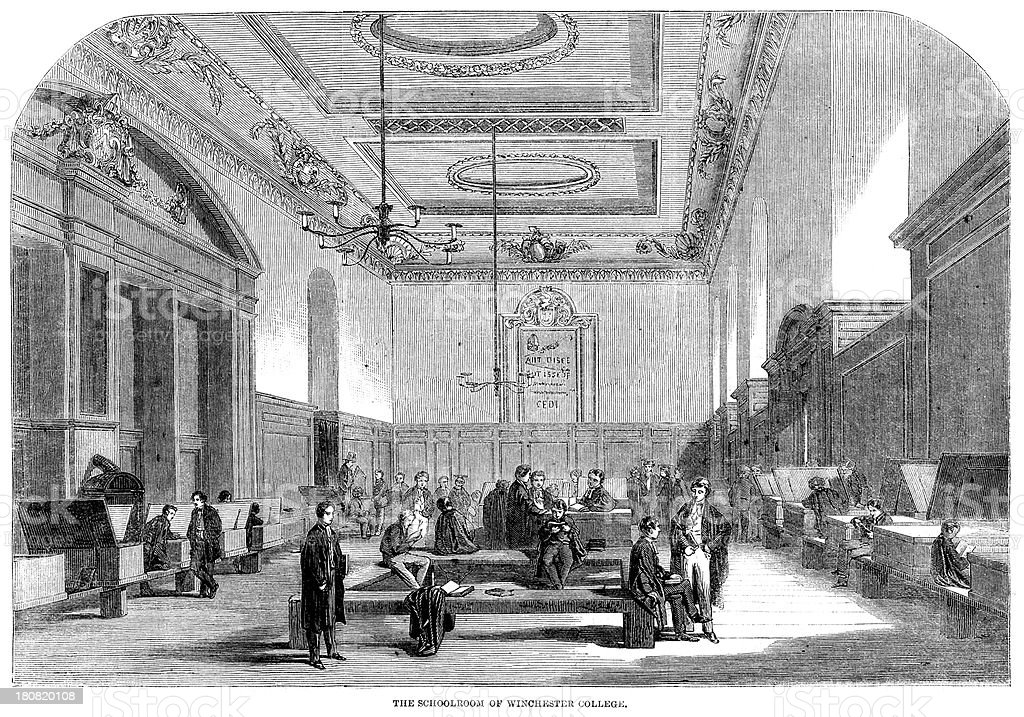 Schoolroom of Winchester Collage royalty-free schoolroom of winchester collage stock vector art & more images of 1860-1869