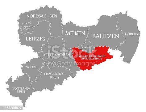 istock Sächsische Schweiz - Osterzgebirge red highlighted in map of Saxony Germany DE 1165295627