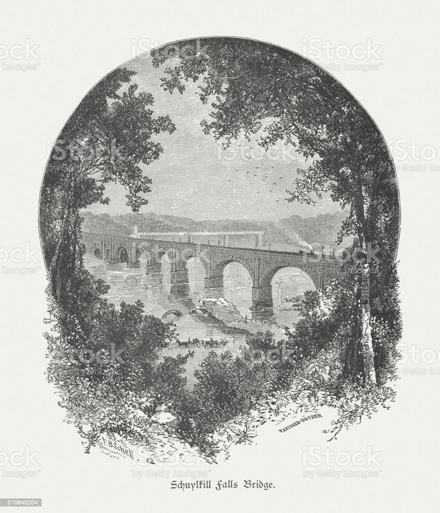 Schuylkill Falls Bridge, wood engraving, published in 1880 vector art illustration