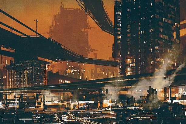 sci fi scene showing futuristic industrial cityscape vector art illustration