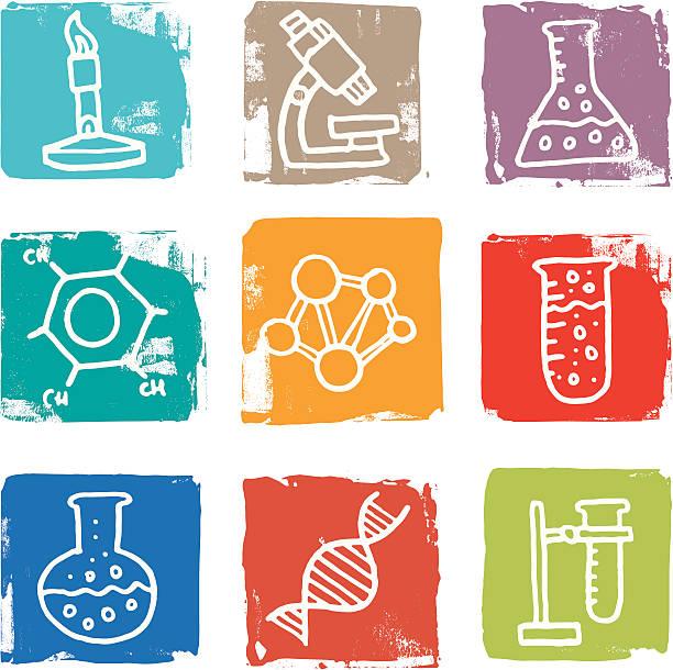 Science and chemistry icon blocks vektorkonstillustration