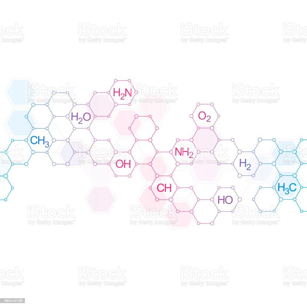 Kimyasal formüller ile bilim ve teknoloji arka plan - Royalty-free Altıgen Stock Illustration