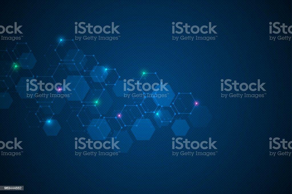 Formation scientifique avec la conception d'hexagones. Abstrait géométrique avec structure moléculaire - Illustration de ADN libre de droits
