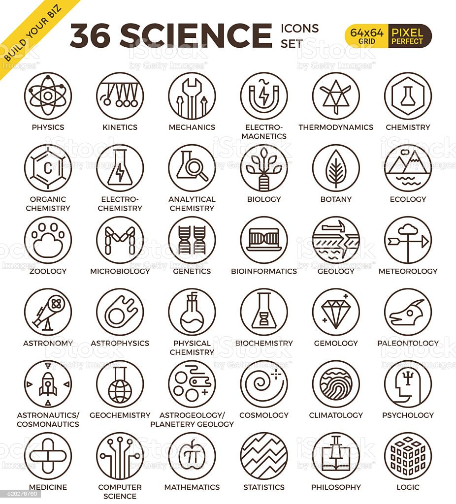 Science education badge pixel perfect outline icons vector art illustration
