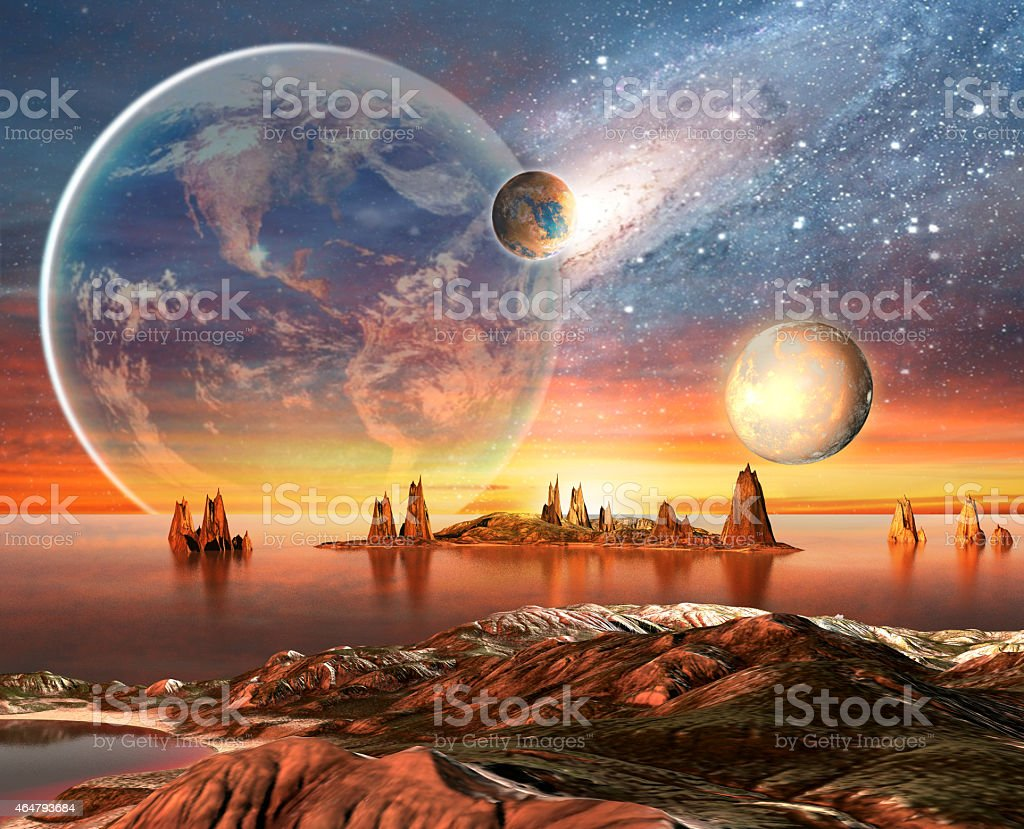 A science fiction foreign planet with mountains and sea vector art illustration