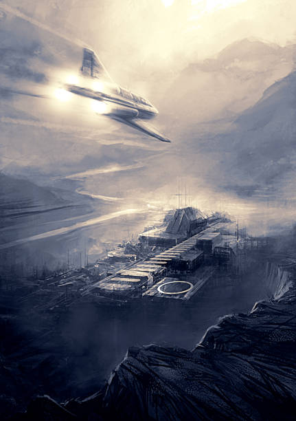 science fiction scene - futuristic jet plane flying over fortress vector art illustration
