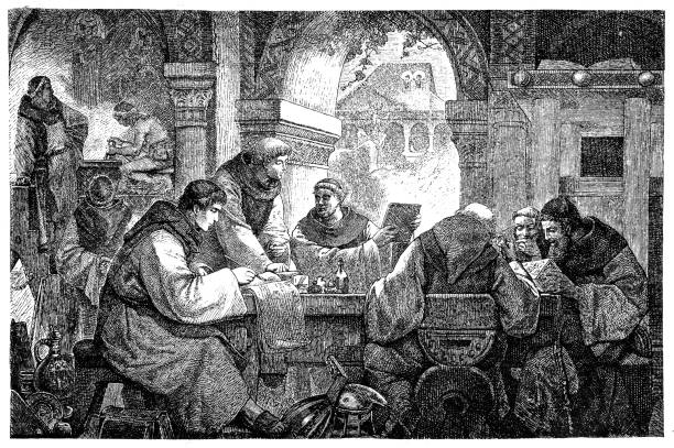 Science in a medieval monastery illustration of a Science in a medieval monastery friar stock illustrations