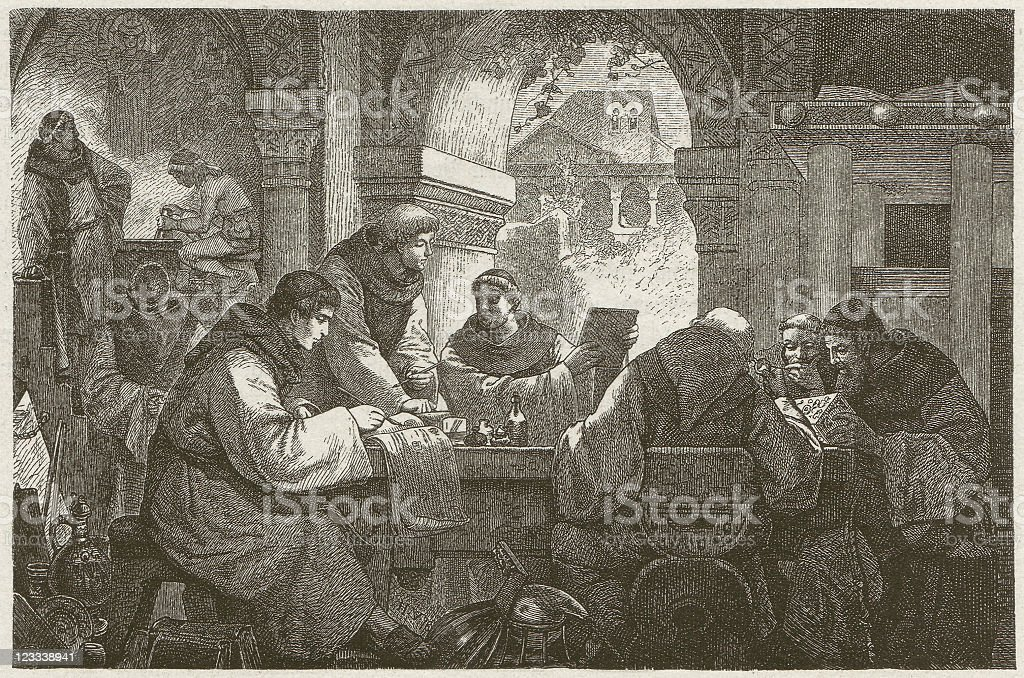 Science in a medieval monastery, wood engraving, published in 1881 royalty-free stock vector art