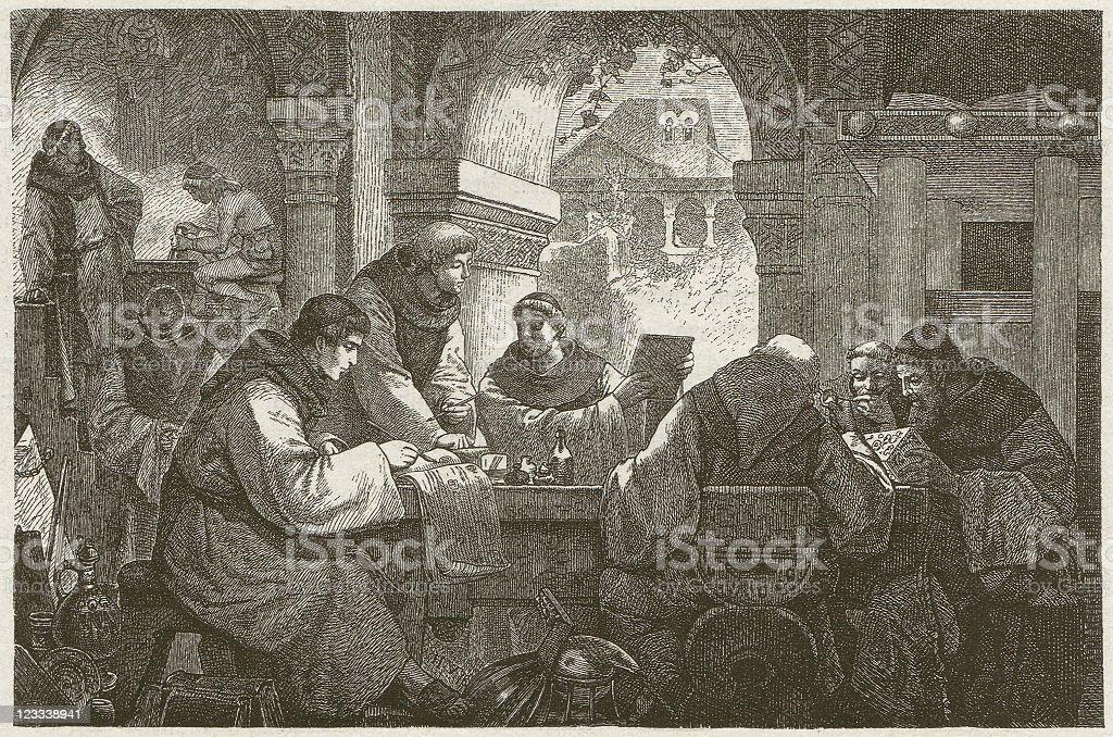 Ciencia de un monasterio medieval - ilustración de arte vectorial