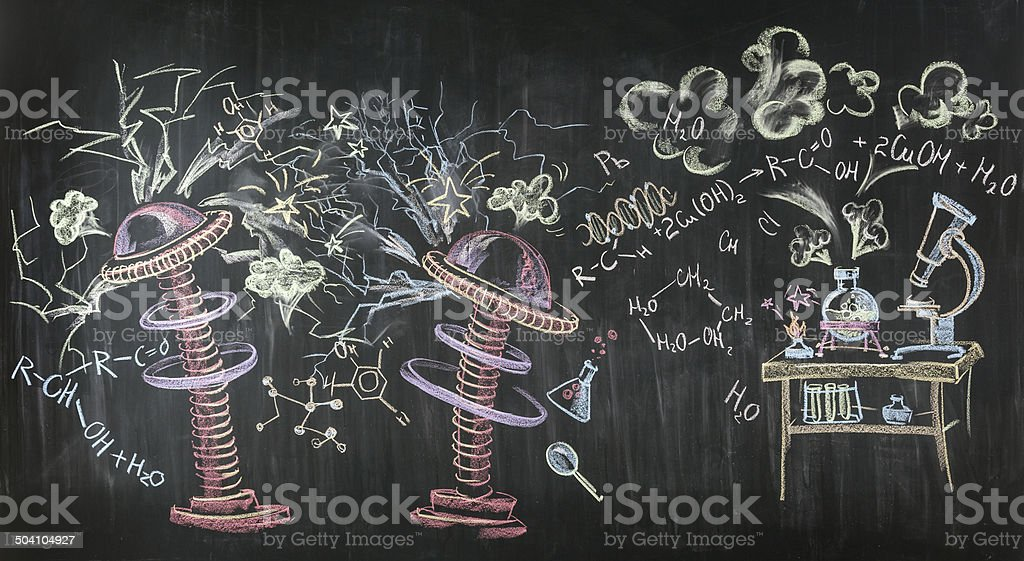 Scientific drawing with chalk vector art illustration