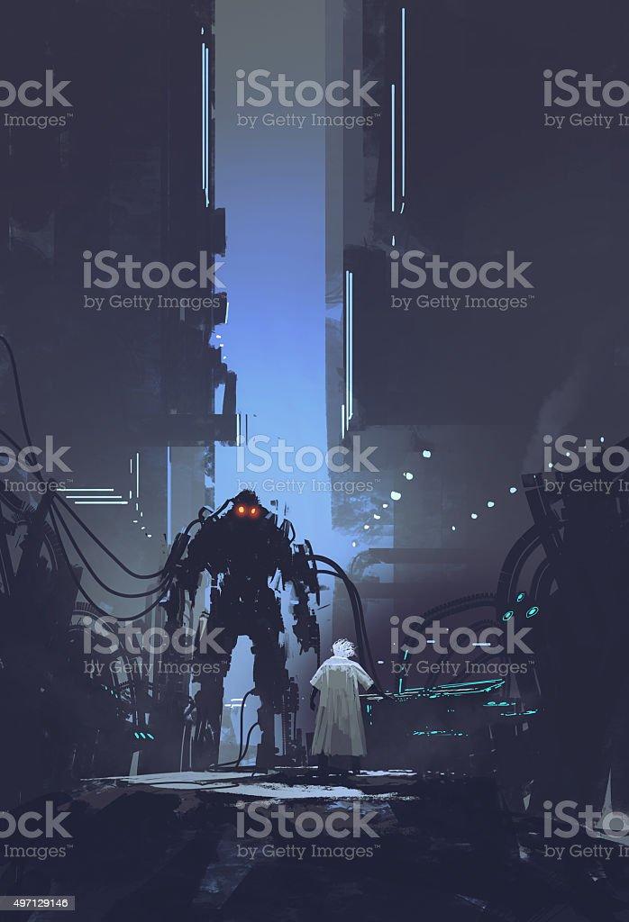 scientist build robot in old factory background vector art illustration