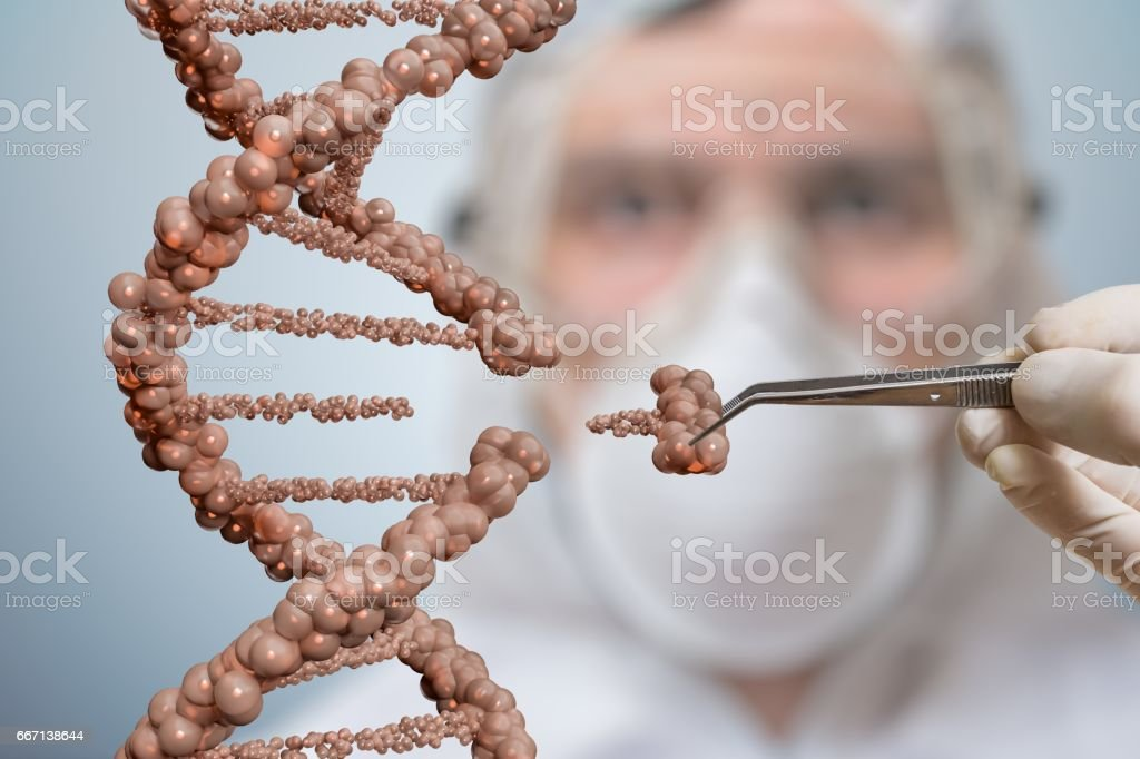 Scientist is replacing part of a DNA molecule. Genetic engineering and gene manipulation concept. vector art illustration