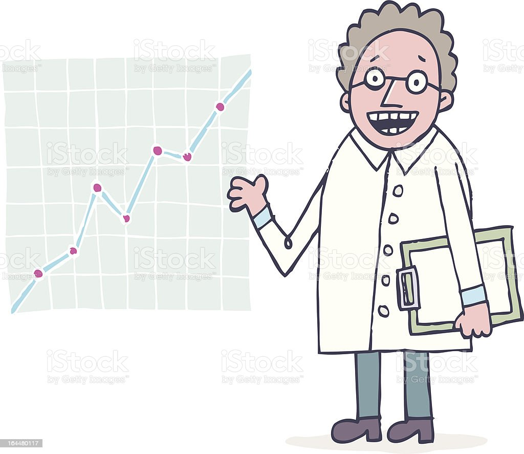 Scientist with chart royalty-free stock vector art