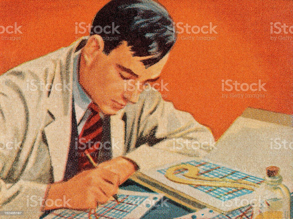 Scientist Working at Desk royalty-free stock vector art