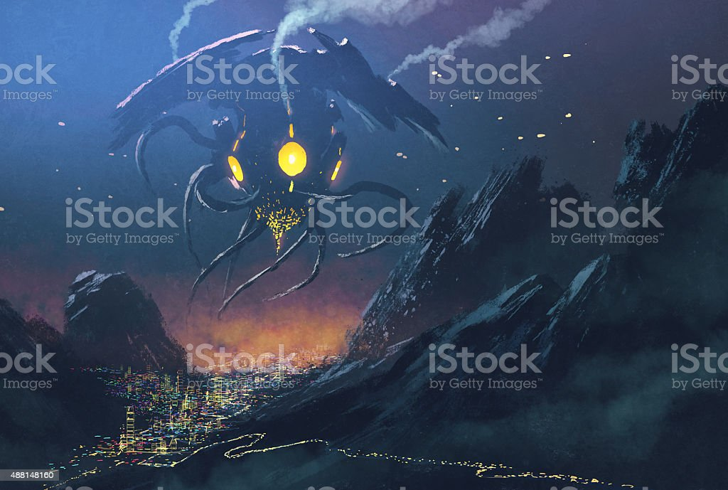 sci-fi scene.Alien ship invading night city vector art illustration
