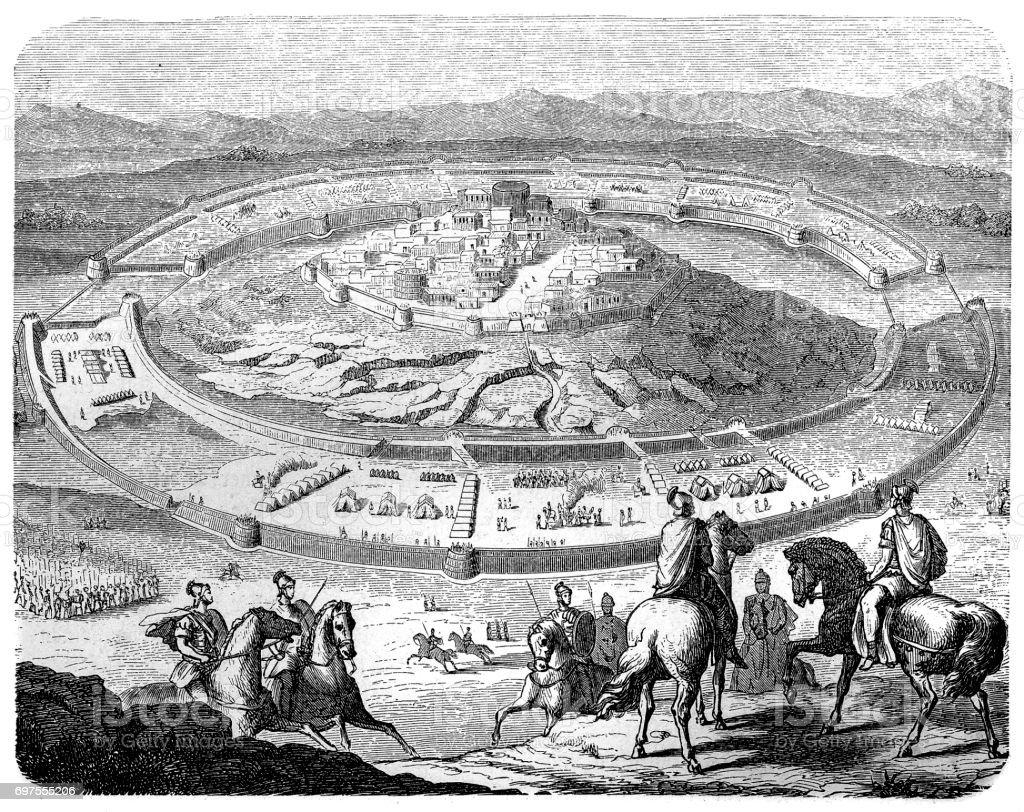 Scipio Africanus beseiges Numantia vector art illustration