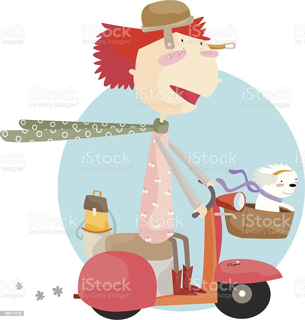 scootering away - Royalty-free Adult stock vector