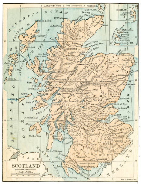 Scotland map 1875 The Independent Course Comprehensive Geography by James Monteith, A.S. Barnes & Co, New York & Chicago 1875 alba stock illustrations