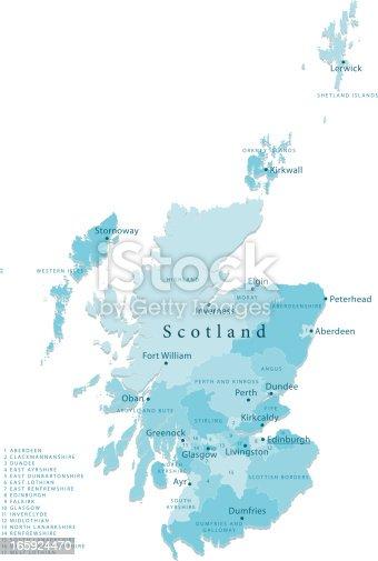 istock Scotland Vector Map Regions Isolated 165924470
