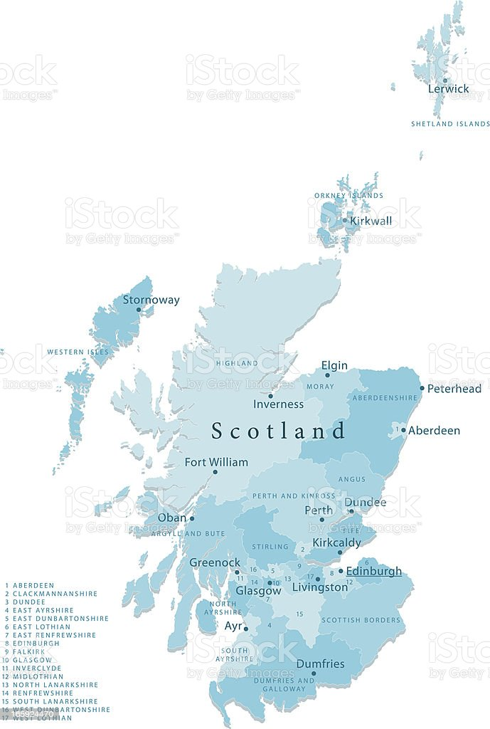 Scotland Vector Map Regions Isolated vector art illustration