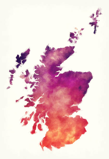 Scotland watercolor map in front of a white background Scotland watercolor map in front of a white background alba stock illustrations