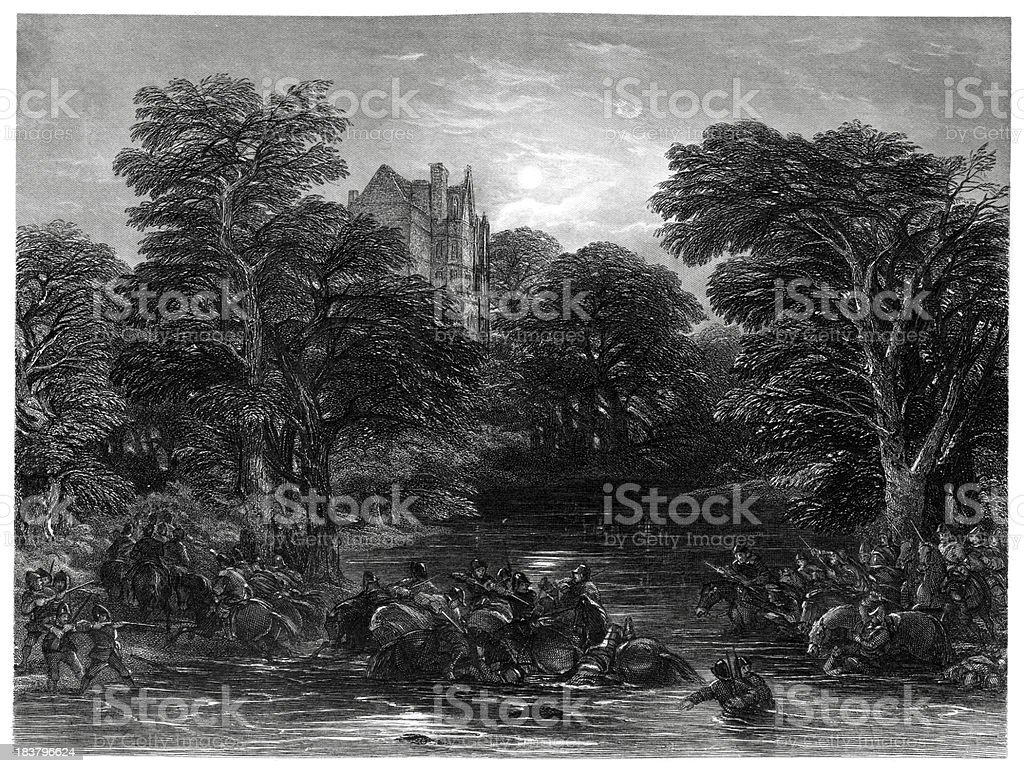 Scots pursued after the Battle of Preston royalty-free stock vector art