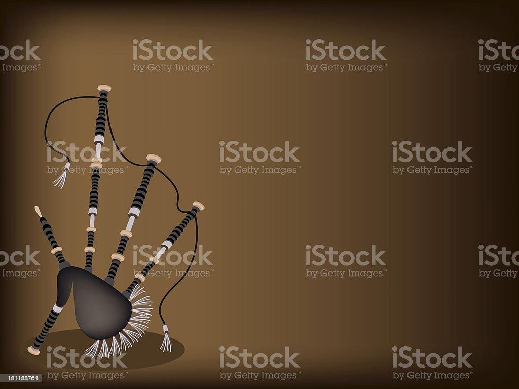 Scottish Bagpipe on Dark Brown Background royalty-free stock vector art