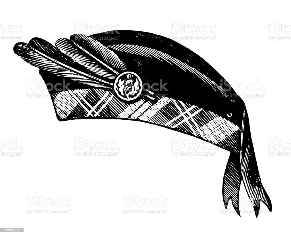 Scottish Glengarry Hat   Antique Design Illustrations royalty-free stock vector art