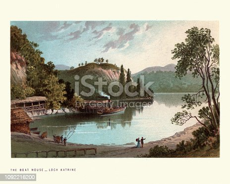 Vintage engraving of Scottish landscape, Boat House Loch Katrine, Scotland. 19th Century. Loch Katrine is a freshwater loch and scenic attraction in the Trossachs area of the Scottish Highlands.