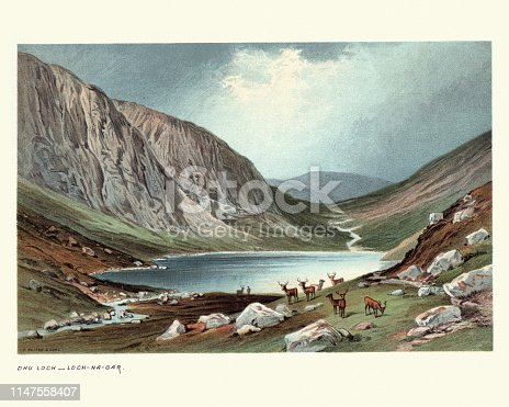 Vintage engraving of Dhu Loch (also known as