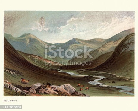 Vintage engraving of Scottish landscape, Glen Nevis, Lochaber, Highland, Scotland, 19th Century
