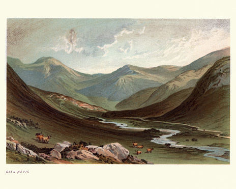 Vintage engraving of Scottish landscape, Glen Nevis, Lochaber, Highland, Scotland, 19th Century