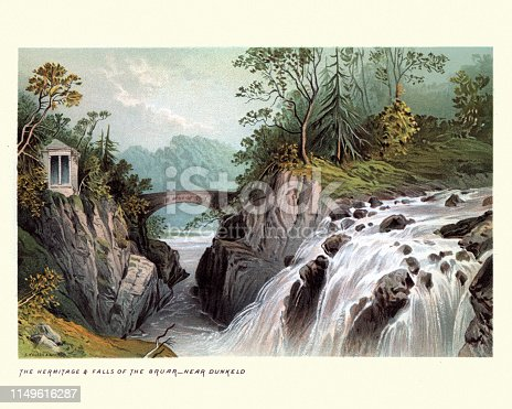 Vintage engraving of Scottish Landscape, Hermitage and Falls of Bruar, Scotland 19th Century. The Falls of Bruar are a series of waterfalls on the Bruar Water in Scotland, about 8 miles from Pitlochry in the council area of Perth and Kinross.