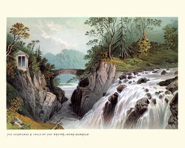 Scottish Landscape, Hermitage and Falls of Bruar, Scotland 19th Century vector art illustration