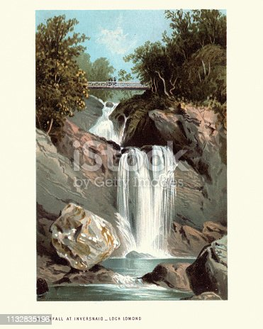 Vintage engraving of Scottish landscape, Inversnaid Waterfall, Loch Lomond, Scotland. 19th Century
