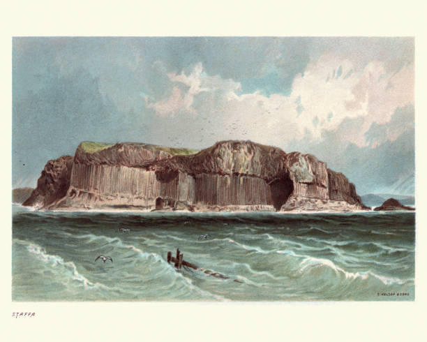 Scottish landscape, Island of Staffa, Scotland, 19th Century Vintage engraving of Scottish landscape, Island of Staffa, Scotland, 19th Century. From the Old Norse for stave or pillar island, is an island of the Inner Hebrides in Argyll and Bute, Scotland. The Vikings gave it this name as its columnar basalt reminded them of their houses rock formations stock illustrations