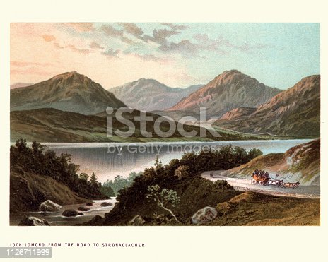 Vintage engraving of Scottish landscape, Loch Lomond from the road to Stronaclacher, 19th Century.