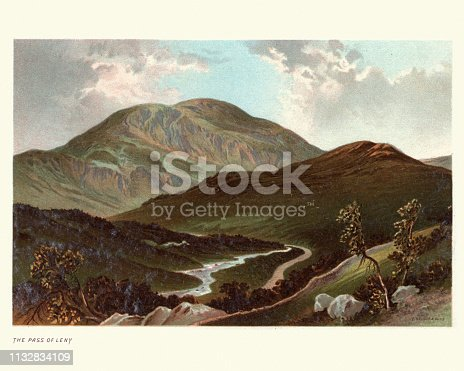 Vintage engraving of Scottish landscape, Pass of Leny, Stirling, Scotland, 19th Century