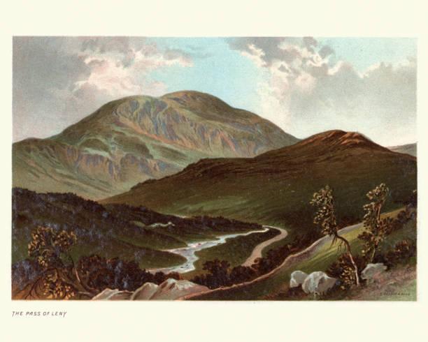 Scottish landscape, Pass of Leny, Stirling, Scotland, 19th Century vector art illustration