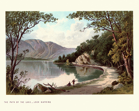 Vintage engraving of Scottish landscape, Path by Lake,  Loch Katrine, Scotland. 19th Century. Loch Katrine is a freshwater loch and scenic attraction in the Trossachs area of the Scottish Highlands.