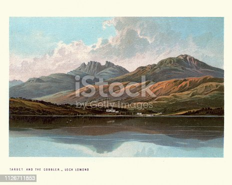 Vintage engraving of Scottish landscape, Tarbet and the cobbler, Loch Lomond, 19th Century. A freshwater Scottish loch which crosses the Highland Boundary Fault, often considered the boundary between the lowlands of Central Scotland and the Highlands.