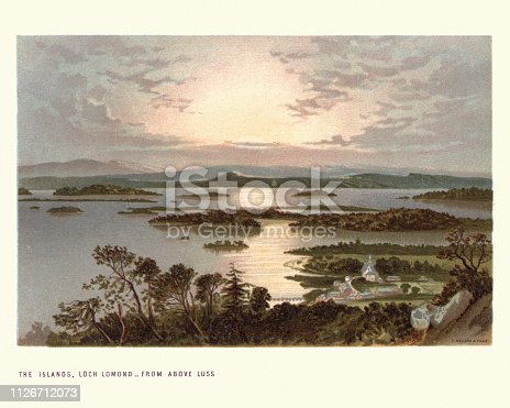 Vintage engraving of Scottish landscape, The Islands, Loch Lomond from above Luss, 19th Century. A freshwater Scottish loch which crosses the Highland Boundary Fault, often considered the boundary between the lowlands of Central Scotland and the Highlands.