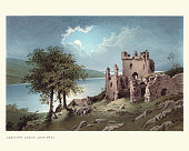 Vintage engraving of Urquhart Castle, the present ruins date from the 13th to the 16th centuries, though built on the site of an early medieval fortification. Founded in the 13th century, Urquhart played a role in the Wars of Scottish Independence in the 14th century.