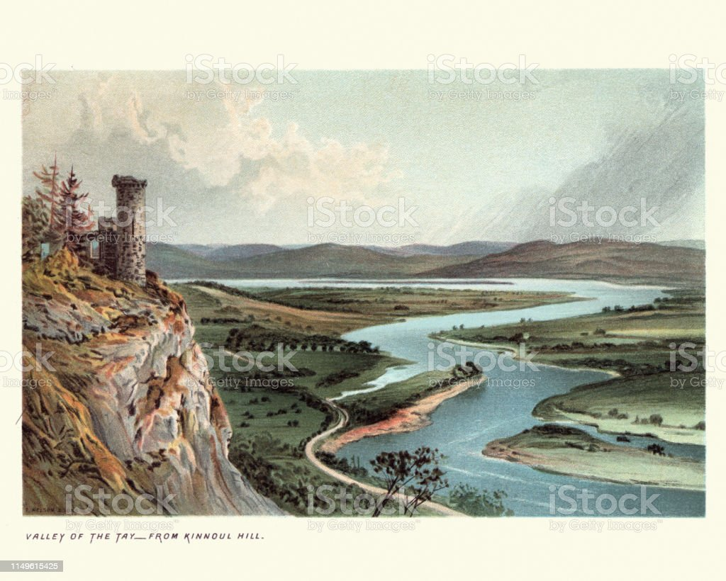Vintage engraving of Scottish Landscape, Valley of the Tay, from...