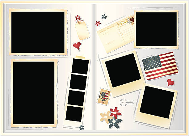 Scrapbook Scrapbook or photo album ready to be filled with your favorite images. photo album stock illustrations