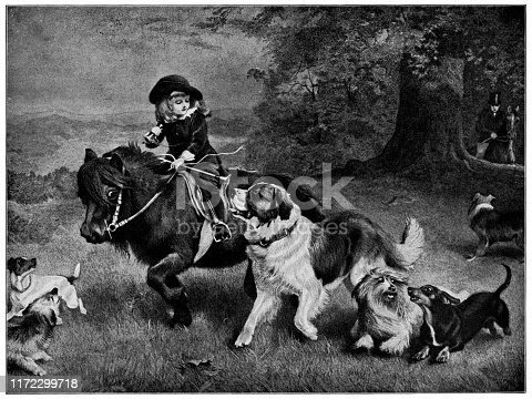A Scratch Pack by Charles Burton Barber (circa 19th century). Vintage etching circa late 19th century.
